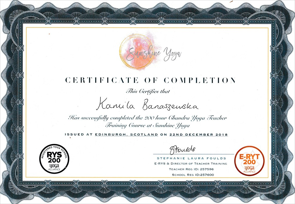 yoga certificate edinburgh