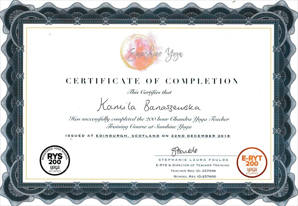 yoga certificate edinburgh